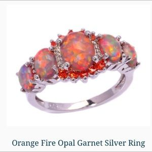 Jewelry - Fire opal and garnet ring